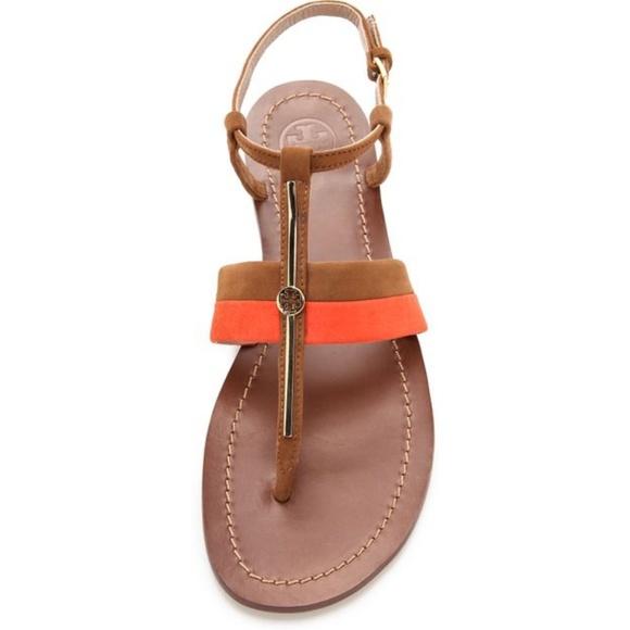 66dfa0cbb Tory Burch Bar Logo Flat Sandals 9 Coral Camel. M 5af8d5ca46aa7cb1bf20efe2